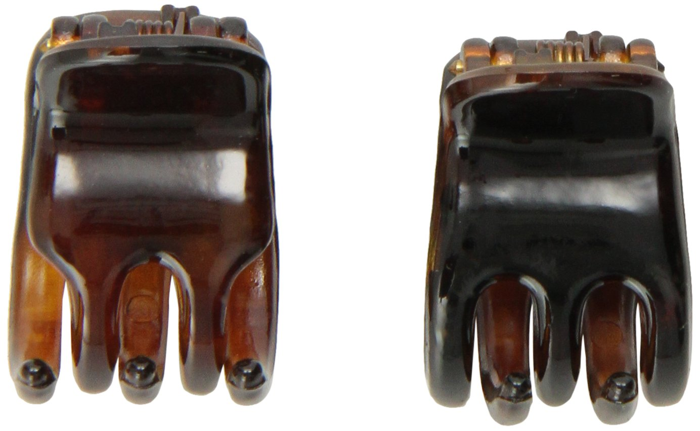 Caravan Mini Tortoise Shell Hair Claws For Part or Ponytail Will Hold In a Breeze Pair 252-2