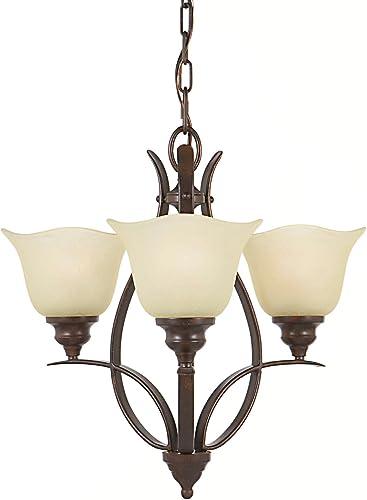 Feiss F2047 3GBZ Morningside Glass Mini Chandelier Lighting, Bronze, 3-Light 20 Dia x 18 H 300watts