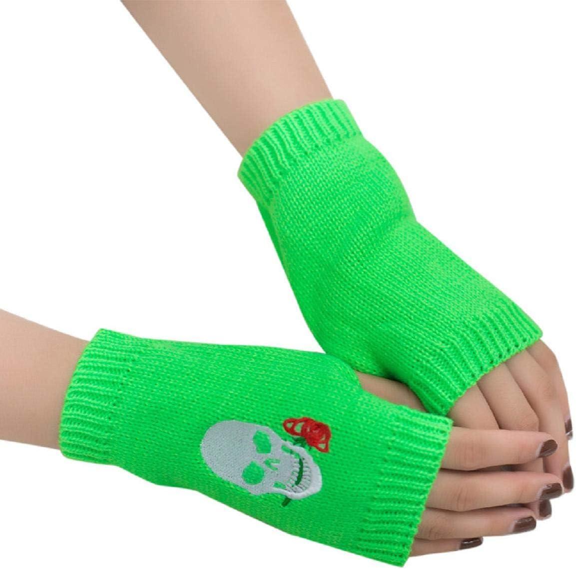 Women Girl Knitted Wool Short Arm Fingerless Warm Winter Gloves Soft Warm Mittens for Weight Training Cycling Skating Climbing Barlingrock Sports Fitness Gloves Skiing Biking