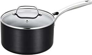 EPPMO 1.5 Qt Hard-Anodized Aluminum Saucepan with lid, Nonstick Small Pot, Stainless Steel Handle, Dishwasher & Oven Safe