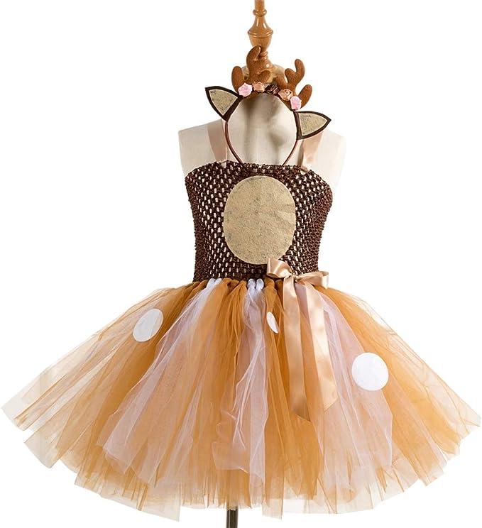 Amosfun - Disfraz de ciervo para niña, vestido de tutú, ropa para ...