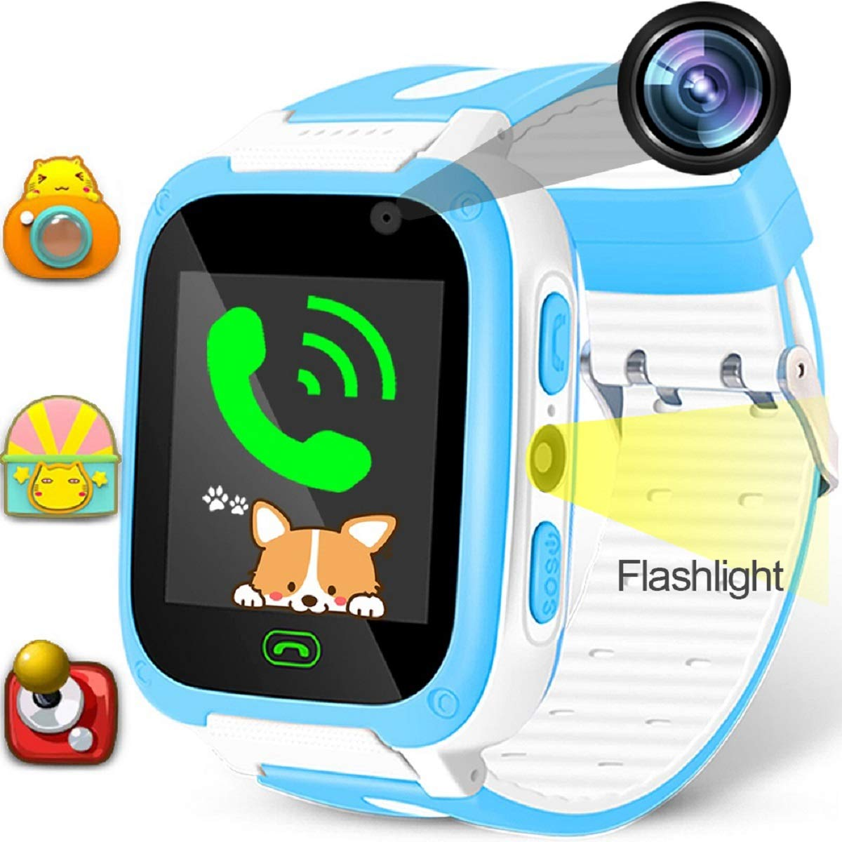 Kids Game Smart Watch Phone SOS Tracker Birthday Holiday Toy Gifts Girls Boys Fitness Tracker Wrist Sport Watch with SIM Camera 1.54'' Alarm Timer for Outdoor Run Summer Camping(Blue)