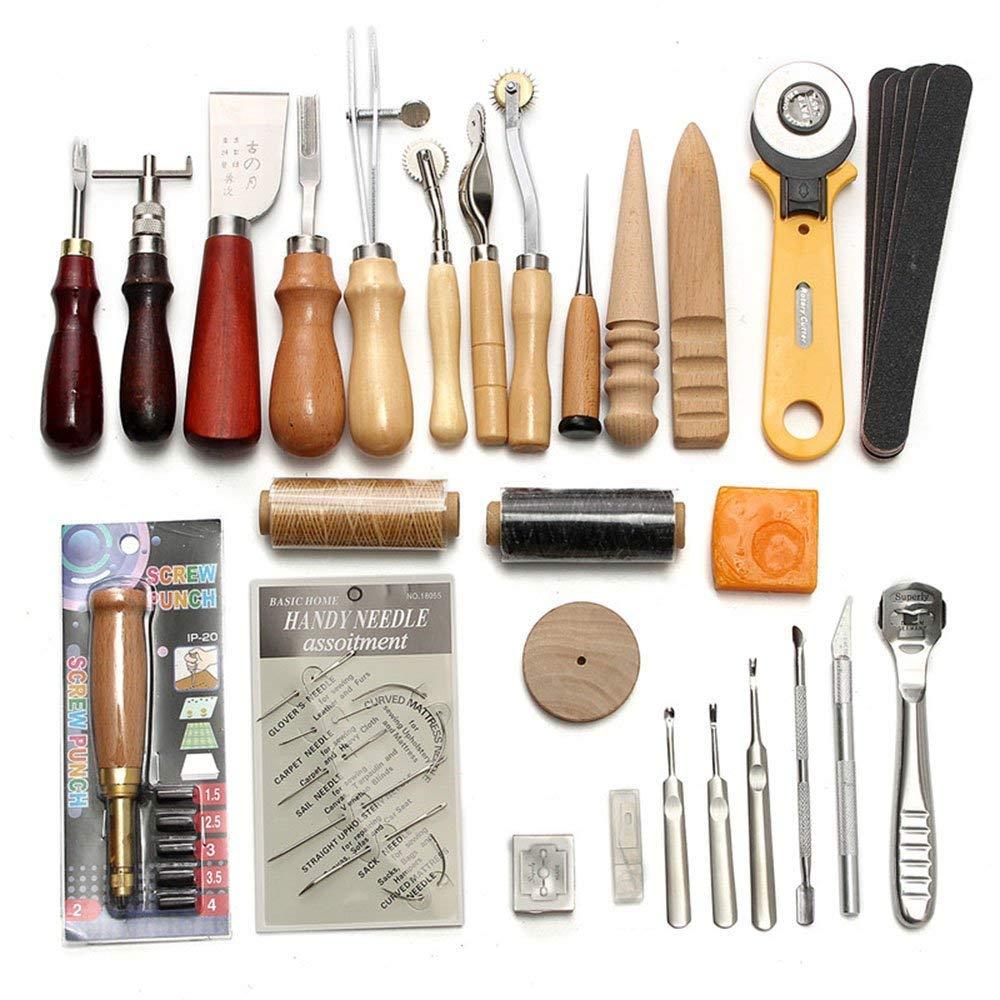 Lot de 18/cir/é Filetage avec aiguilles /à coudre kit et per/çage Poin/çon D/é /à Coudre 150d 1/mm Couture Main Cordon pour cuir Craft DIY 18 leather sewing kit