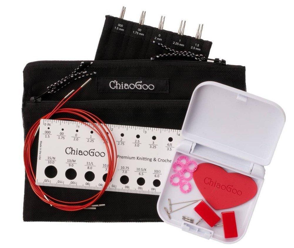ChiaoGoo 5 Inch Twist Interchangeable Needle Set Red Lace Mini Set US 000-1.5
