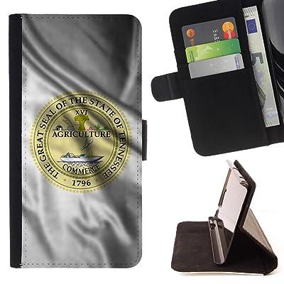 FJCases Tennessee The Volunteer State Bandera Ondeante con Emblema Carcasa Funda Billetera con Ranuras para Tarjetas y Soporte Plegable para HTC U11