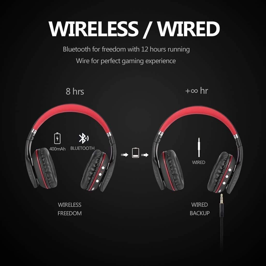 N / A draadloze Bluetooth headset opvouwbare draadloze Bluetooth 4.1 headset met 3,5 audiokabel Mic LED gaming-hoofdtelefoon voor telefoon PC laptop, blauw rood