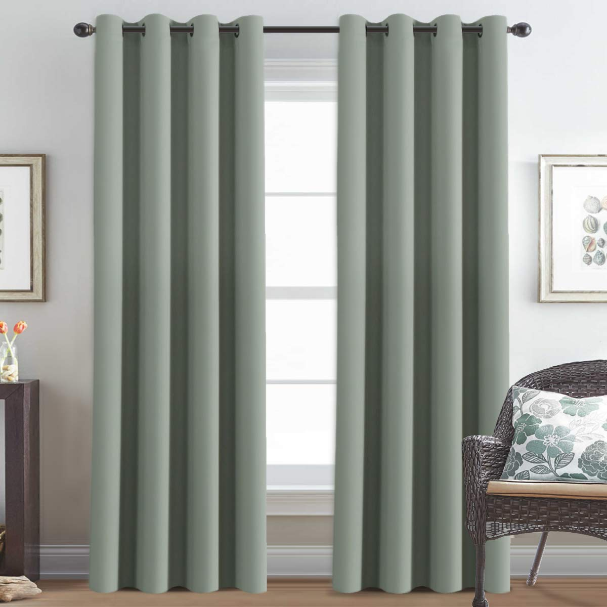 Window Treatment Curtains/Drapes Blackout for Bedroom 84 Inch, Room Darkening Thermal Curtains for Living Room, Noise Reducing Sound Proof Solid Grommet Curtain (One Panel, 52 by 84 Inch Long, Sage)