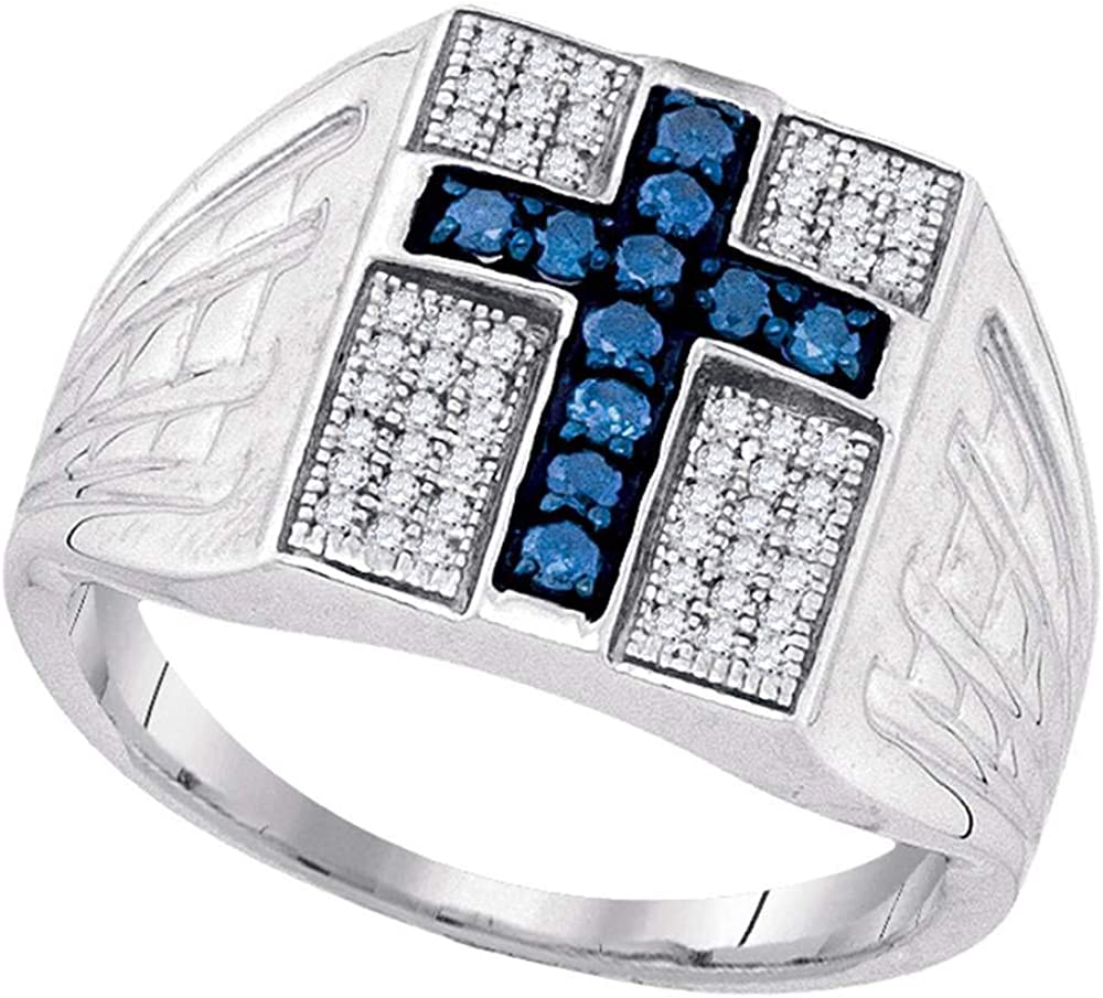 Sterling Silver Mens Round Blue Color Enhanced Diamond Cross Religious Ring 1//2 Cttw