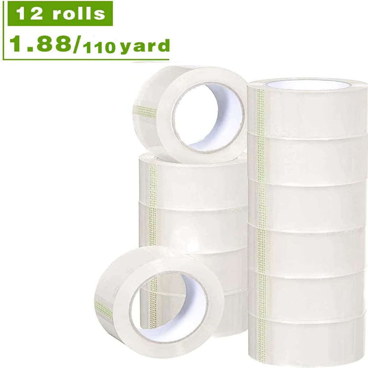 Printholic Packing Tape-110 Yards Per Roll (12 Rolls) 1.88 Inch with Wide Stronger and Thicker, Clear Packing Tape for Moving Packaging Shipping, Office or shiping-Storage-Tape-Packing-Refill-Shipping : Office Products