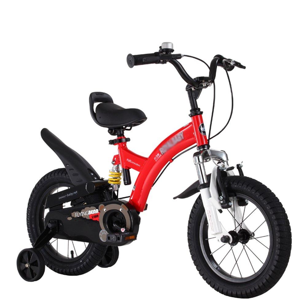 HAIZHEN マウンテンバイク 子供用自転車 ピンクレッドイエロー サイズ12インチ、14インチ、16インチ、18インチ アウトドアアウト 新生児 B07C6SFNC1 14 inch|赤 赤 14 inch