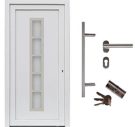kuporta Kunststoff Haust/ür Carbo 88 x 200 cm DIN rechts wei/ß mit Dr/ücker-Set und Montage-Set