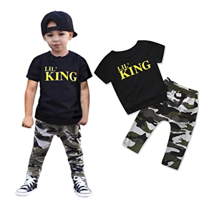13d8fd0356 WARMSHOP Summer Kids Clothing Set, 2PC Boys Letter Print Stylish ...