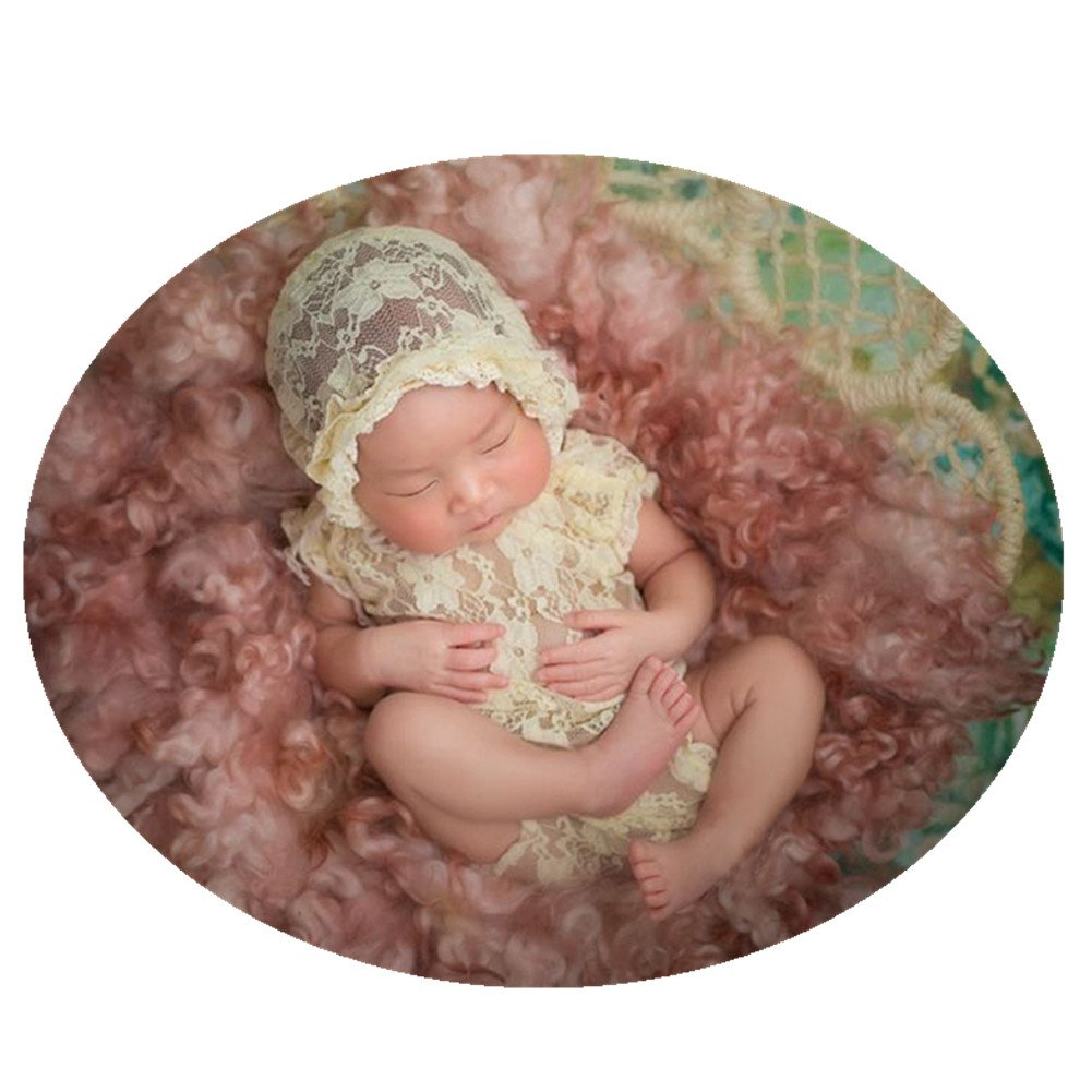 Amazon com fashion cute newborn baby girls photography props lace romper photo shoot props outfitsbeige clothing