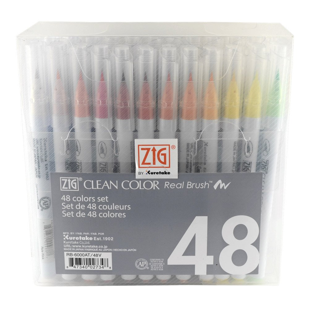 Zig RB600048 Clean Color Real Brush Markers (48 Per Package)