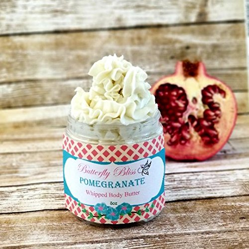 - Pomegranate Whipped Body Butter, natural lotion, organic, 8oz jar, made with shea butter, mango butter, coconut oil, almond oil