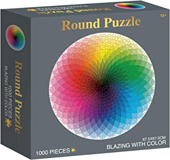 RECHIATO 1000-Pieces Round Jigsaw Puzzle (Gradient Color Rainbow)