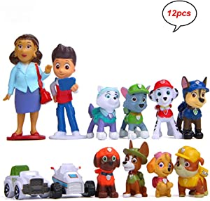 MEMOVAN Paw Dog Patrol Cake Toppers-12Pcs Paw Patrol Birthday Cake Topper Cupcake Topper, Children Mini Figurines Toy, Paw Patrol Cake Decoration for Kids Birthday Baby Shower Paw Theme Party Supplies