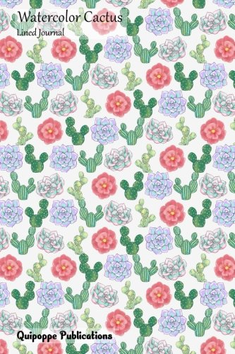 Watercolor Cactus Lined Journal: Medium Size College Ruled Notebook With Cacti and Flowers Pattern Cover -