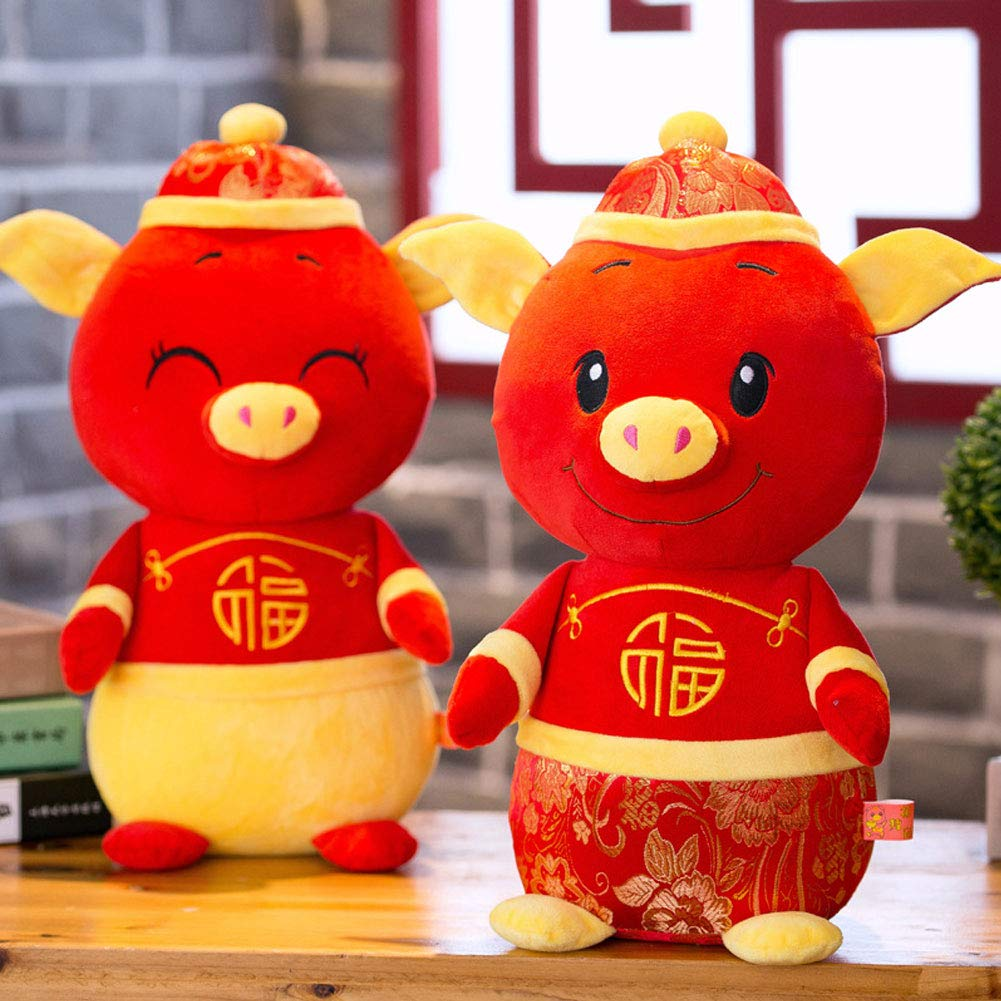 Aland-2019 New Year Kawaii Mascot Pig Tang Suit Dress Fortune Toy Party Decor Gift - 30cm