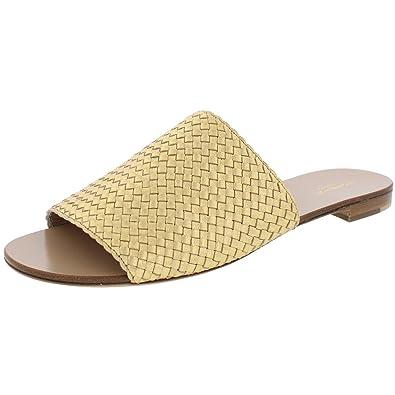 c3e0e88d9e47 Michael Kors Womens Byrne Leather Open Toe Slide Sandals Gold 37.5  Medium(B
