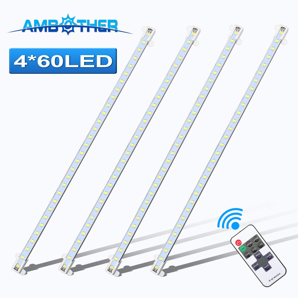 AMBOTHER Interior Lights 4X 60 LEDs Strip Lights 12V 500MM Waterproof Cool White 5630 LED with Bar Strip Lamp Universal Lighting 4.5W for Camping Car Camper