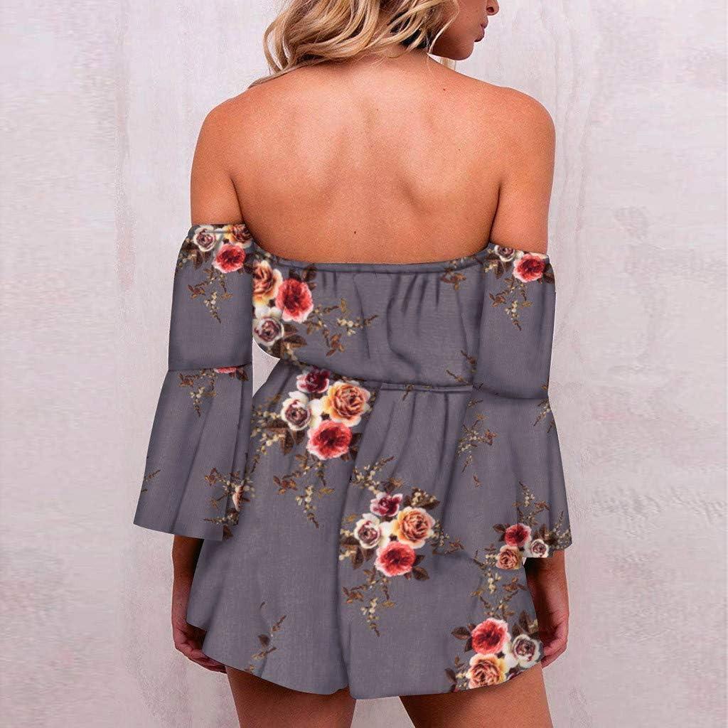 TOPUNDER Fashion Women Floral Print Jumpsuits Flare Sleeve Off Shoulder Short Romper