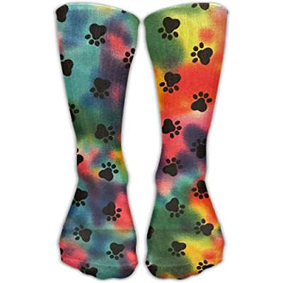 Colorful Dog Paw Unisex Sports Socks Tube Socks Knee High Compression Sports Athletic Socks Tube Stockings Long Socks