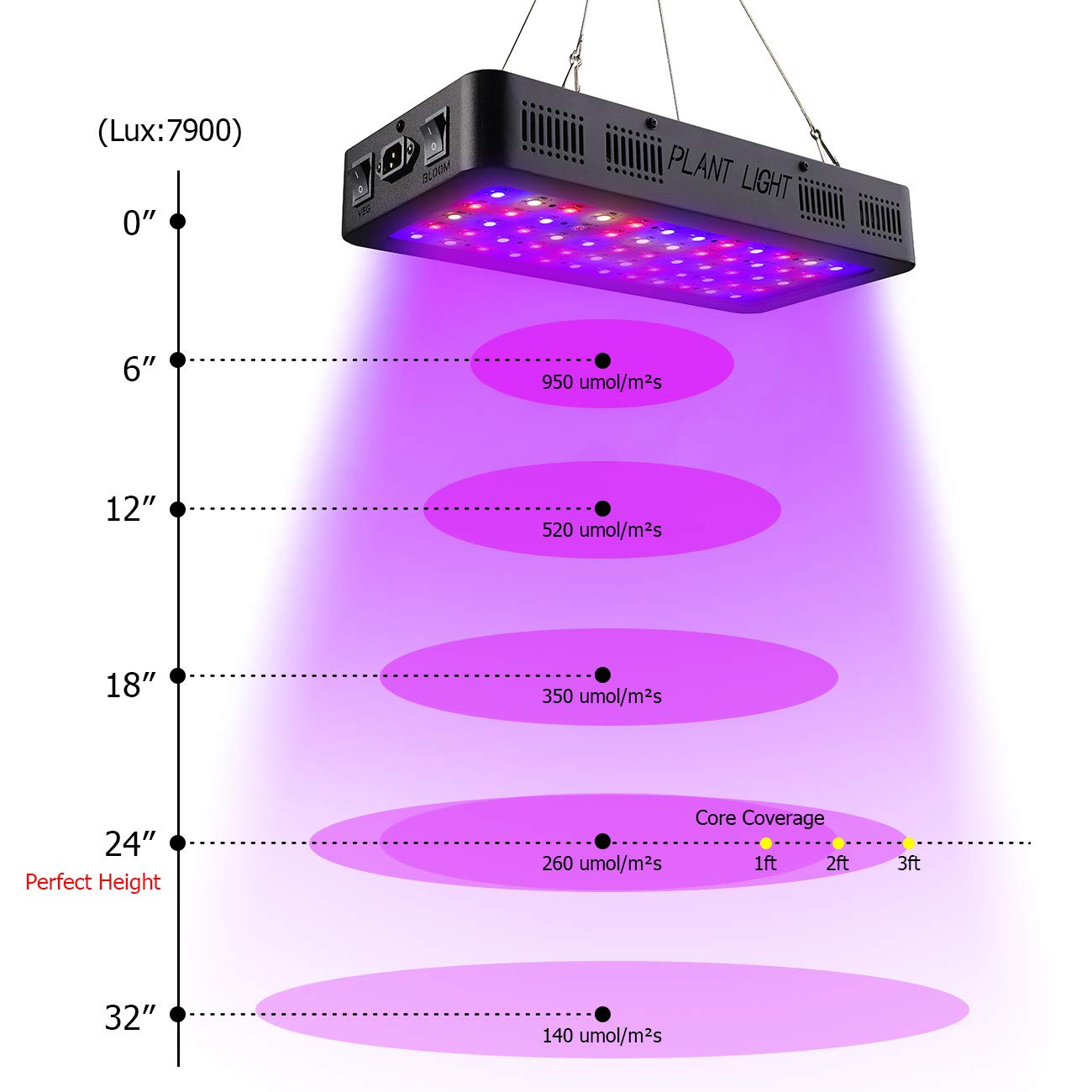 Golspark Indoor LED Grow Light, 600 Watt Full Spectrum Plant Light with Switch, IR&UV Growing Lamp Kits for Greenhouse Hydroponic Seedling Veg and Flower by Golspark (Image #4)