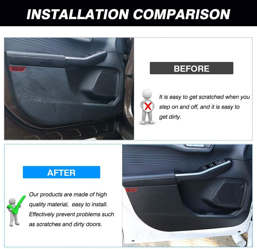 Autorder Car Door Anti-Kick Sticker for Ford Escape 2020 Carbon Fiber Leather Anti Kick Pad Protection Side Edge Film Protector Stickers