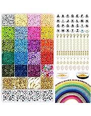 5000 polymeerklei platte ronde kralen, 6 mm platte polymeerklei schijfkralen en 218-delige witte letters AZ met 120-delige Heishi-vinylbenodigdheden