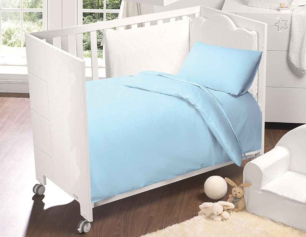 Love2Sleep 100% EGYPTIAN COTTON COT BED DUVET COVER 100 X 120 CM & PILLOWCASE SET : SKY BLUE