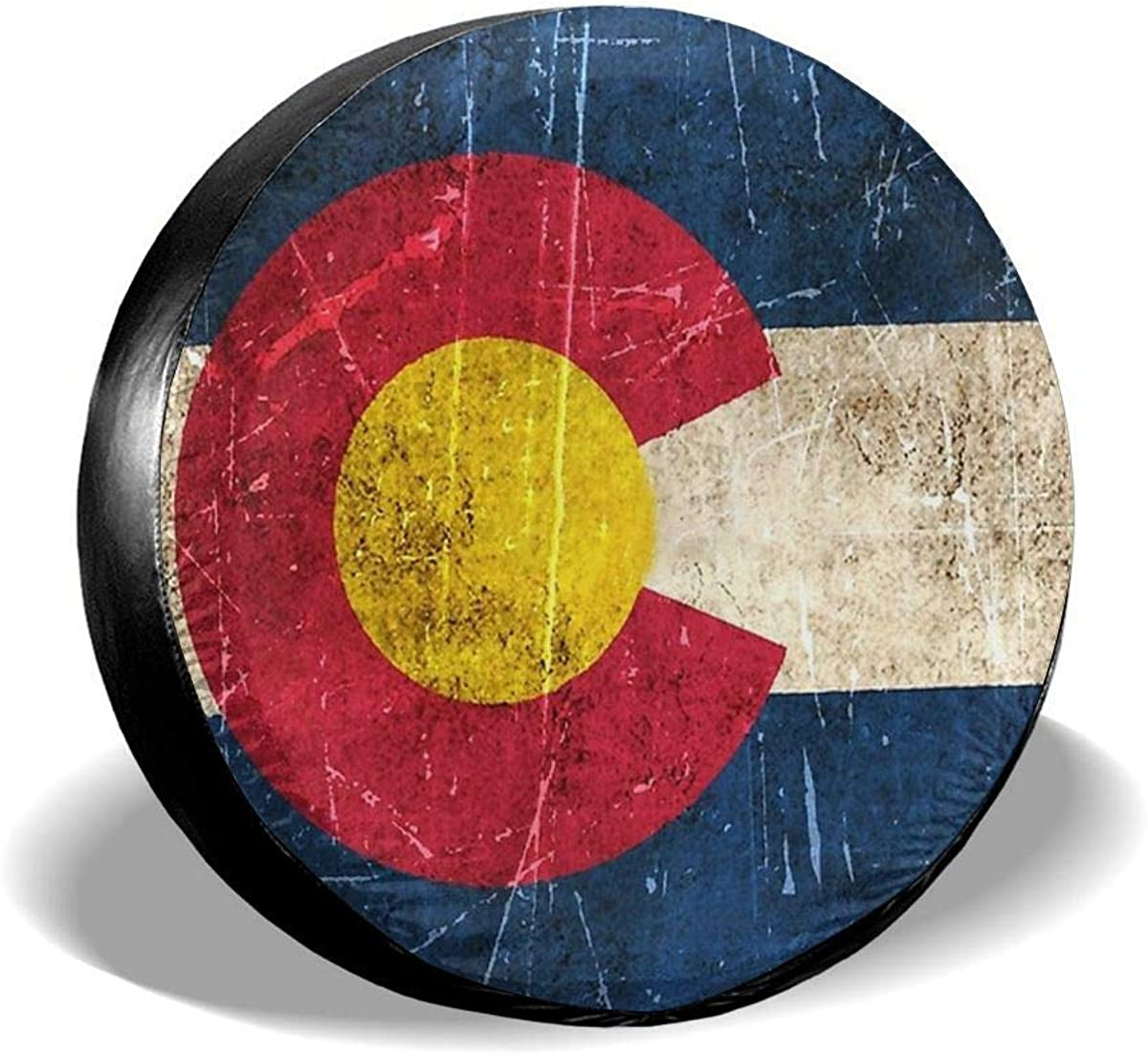 RV Hhill Swater Vintage Aged and Scratched Colorado Flag Spare Tire Wheel Cover Waterproof Dust-Proof Universal Tire Covers Trailer Jeep Truck and Many Vehicles 14 15 16 17 SUV
