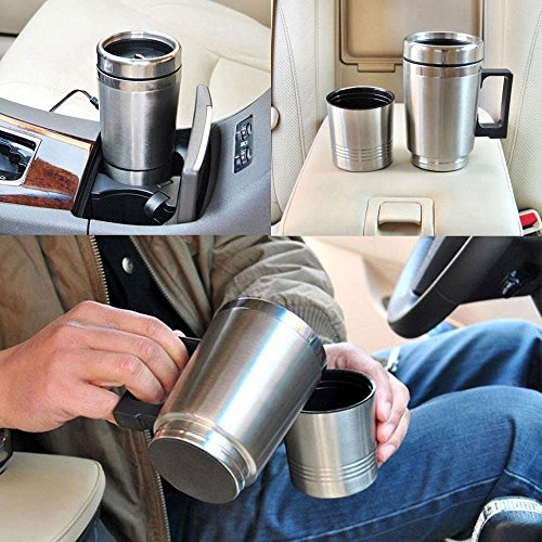 WOPUS 12V in-Car Coffee Maker Tea Pot Thermos Bottle Stainless Steel Heating Cup 300ml ()