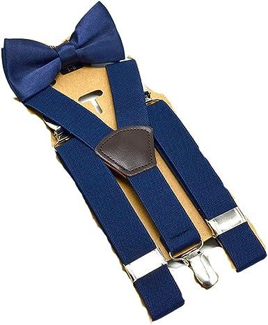 MOHSLEE Boys Kids Y Back Elastic Suspenders Bow Tie Set /& 3 Black Leather Clips