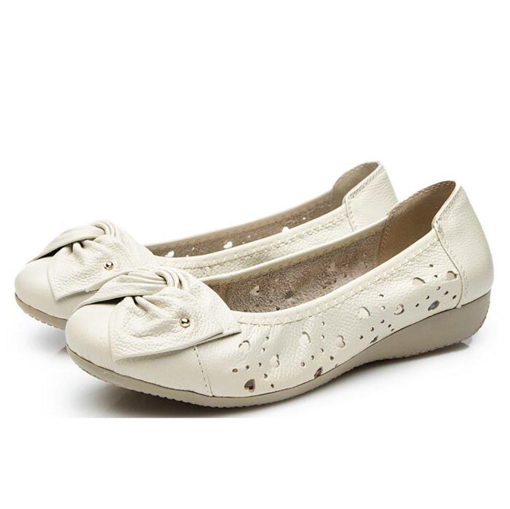 SHANGXIAN Damen Leder Schuhe Mokassins Beilauml;ufig Flache Bootsschuhe Einfach Gemuuml;tlich Atmungsaktiv Sandalen,Beige,US5/EU35/UK3/CN34  US5/EU35/UK3/CN34|Beige