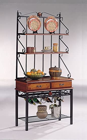 Coaster Brown/Sandy Black Finish Metal U0026 Wood Bakeru0027s Kitchen Rack W/Drawers
