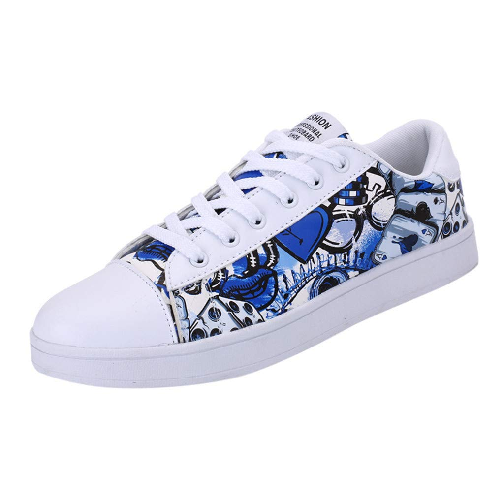 HENWERD Women's Fashion Skater Sneakers Casual Sports Walking Flat Student Shoes (Blue,5.5 US)