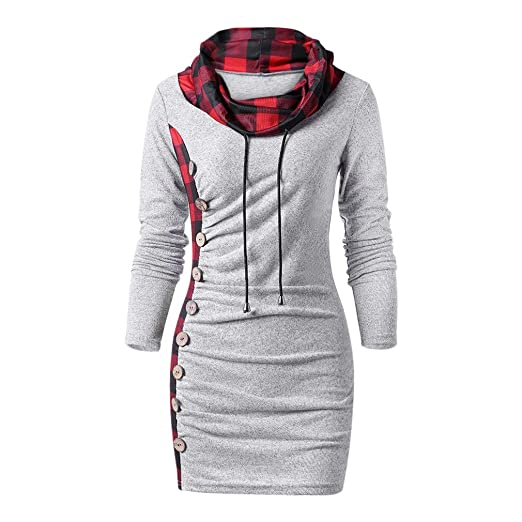 0a0128fd943 Plaid Trim Drawstring Tunic Sweatshirt Dress Female Sheath Cowl Neck Long  Sleeve Dress Winter Fall Dresses