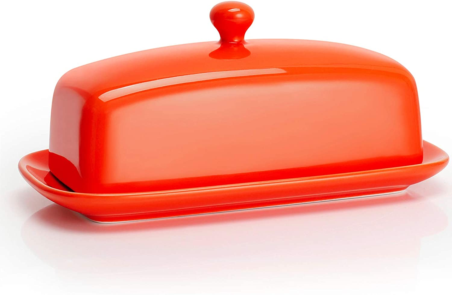 Sweese 307.106 Porcelain Butter Dish with Lid, Perfect for East West Coast Butter, Orange