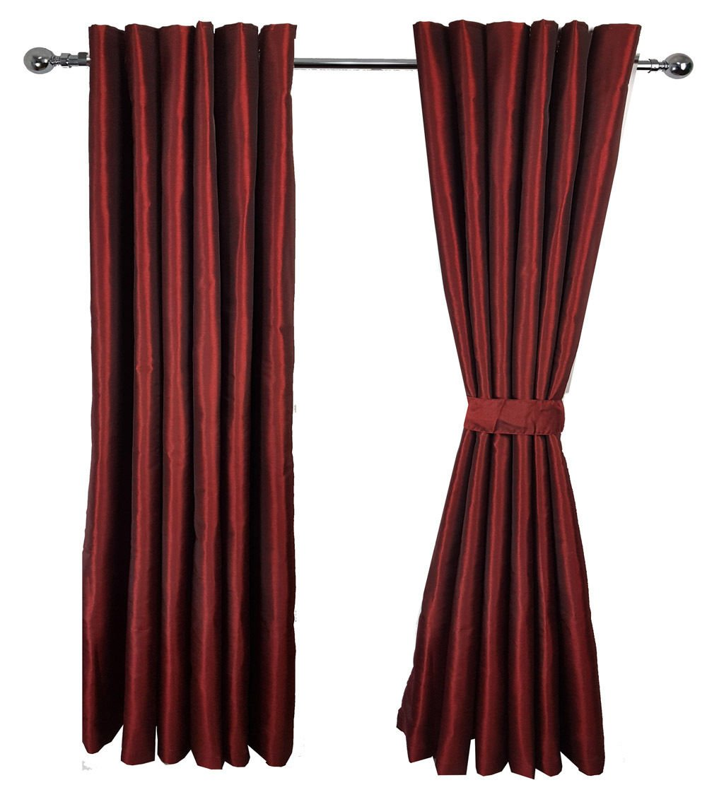 Starex Maroon LUXURY PAIR OF FAUX SILK EYELET READY MADE FULLY LINED CURTAINS 2 TIE