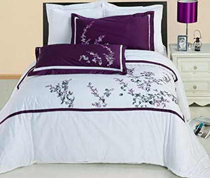 d831071a8047 Duvet Cover Set and Pillowcases 3 Piece 100 Egyptian Cotton Luxury 300  Thread Count Hotel Bedding