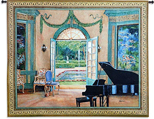 Pure Country Weavers Grande - The Music Room Monet by Foxwell | Woven Tapestry Wall Art Hanging | Grand Piano Music Room by Courtyard | 100% Cotton USA Size 64x52