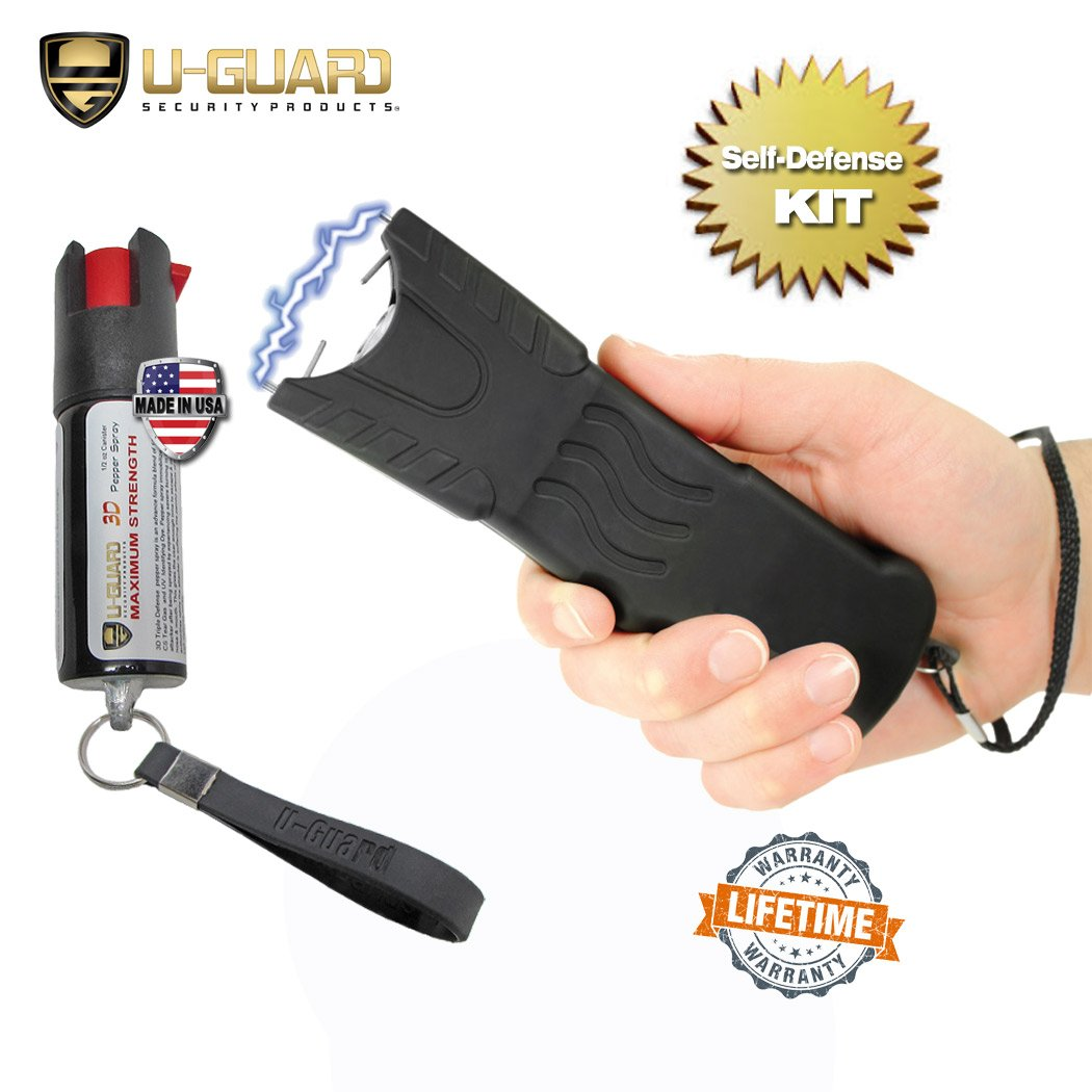 Police Stun Gun Heavy Duty Taser Flashlight Combo Pepper Spray Keychain Defense Kit. (1) High Volt Rechargeable Tazer(1) 18% 1/2oz OC Pepper Spray CS Tear Gas & UV Dye Military Formula Made In USA. by U-Guard Security Products
