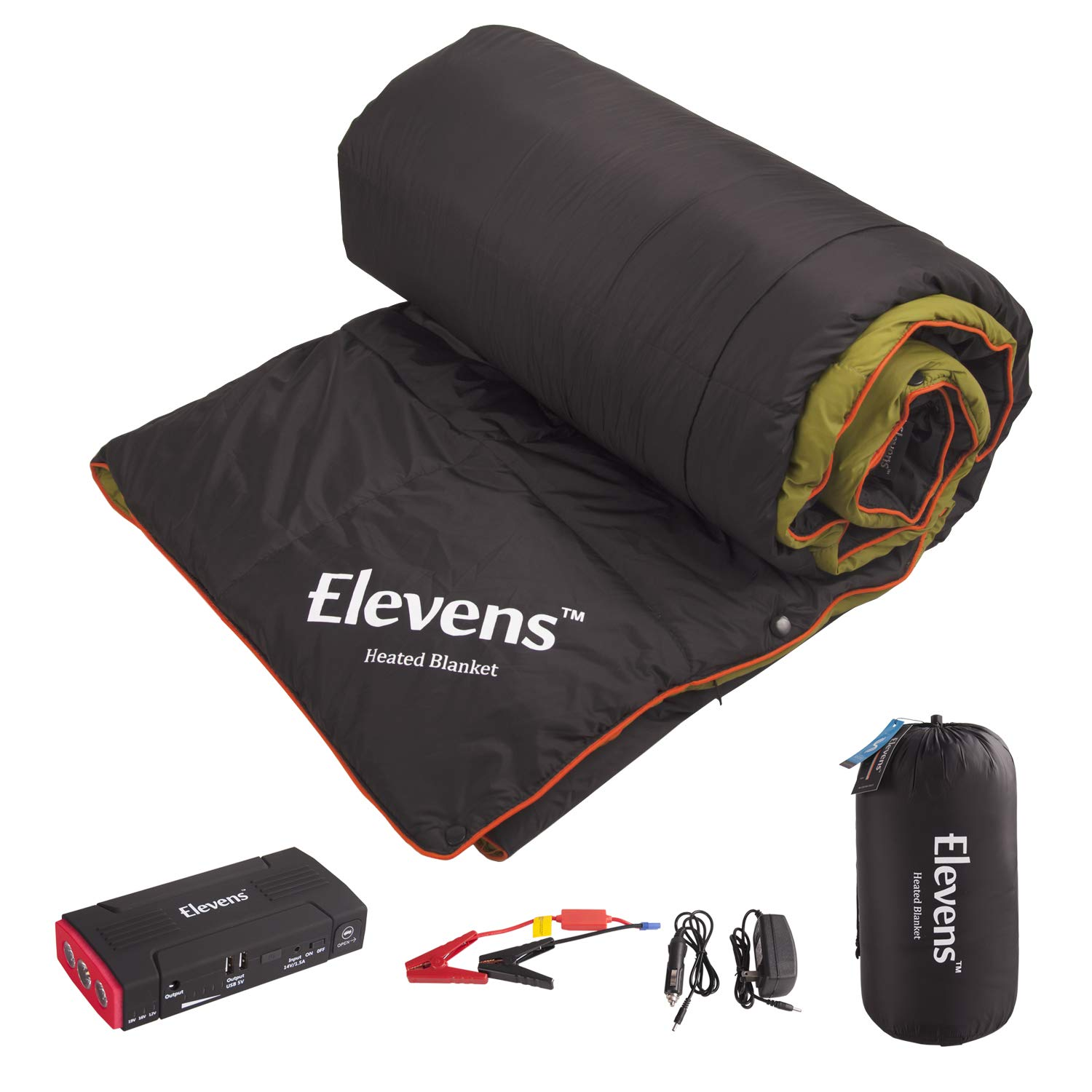 Elevens 3-in-1 Battery Powered Heated Blanket for 4-Season Traveling, Camping, Hiking Outdoor Activities by Elevens