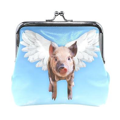 Amazon.com: Azul Viper lindo Pig Flying cartera de piel mini ...