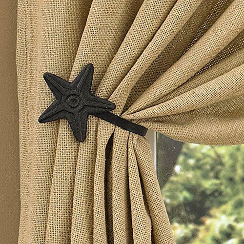 Western Curtain Tie Backs - Park Designs Black Star Curtain Tie Back,3.75