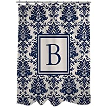 Manual Woodworkers & Weavers Shower Curtain, Monogrammed Letter B, Blue Damask