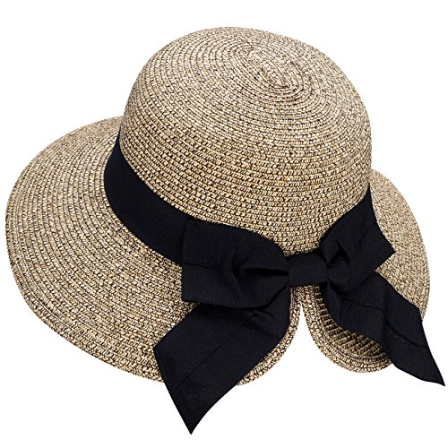 (Verabella Floppy Hat Women's UPF 50+ Foldable/Packable Straw Sun Beach Hat,Mix)