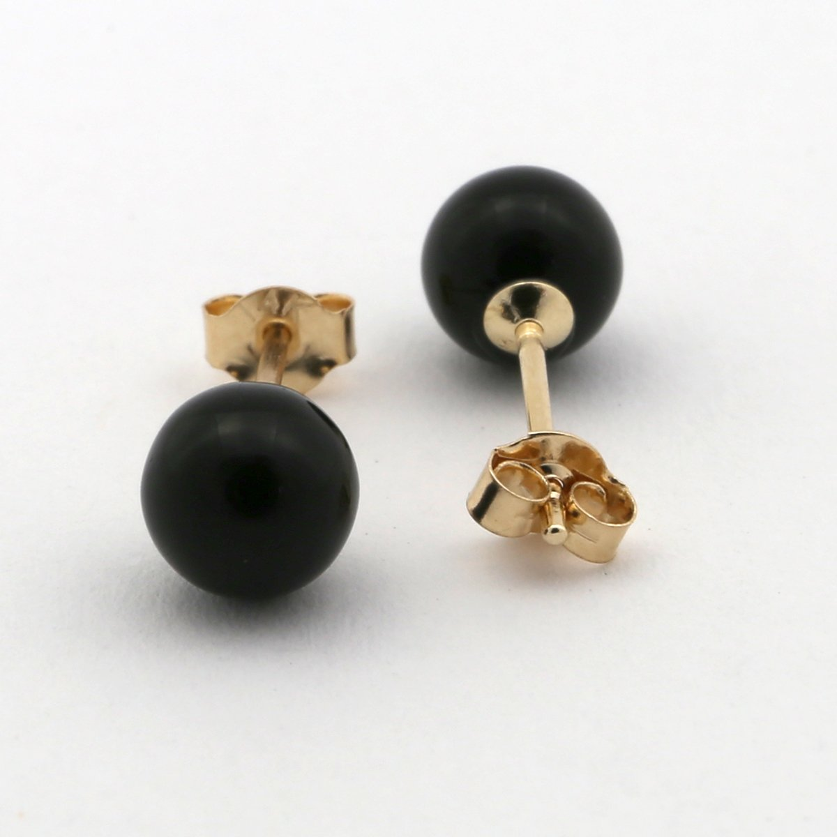 14k Yellow Gold 5 Millimeters Black Simulated Onyx Ball Stud Earrings