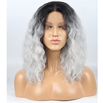 Stylistlee 250% Density 2 Tone Wigs for Women Ombre Gray Synthetic Lace Front Wigs Black